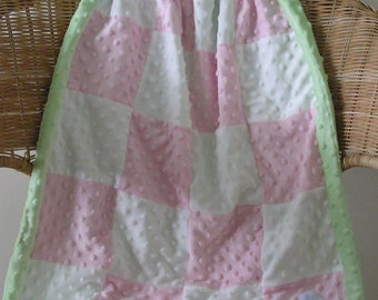 Minky Blanket, Pink and White Checked