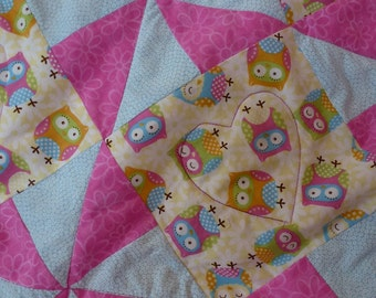 """Owl Quilt-OMG-""""Owl My Goodness"""" Pin Wheel Cotton Quilt"""