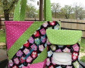 """Custom BOUTIQUE Diaper Bag w/ Wipes Cover & Reversible Changing Pad """"Name Embroidered FREE"""""""