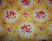 Beautiful Pink roses on yellow back ground By Annette Tatum 1 yard custom order