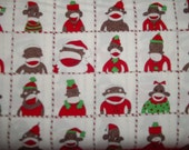 Sale Sock Funky Monkey's  Santas Little Helpers in squares on cream back ground by Erin michael for 5 Funky Monkey collection  OOP 1 yard