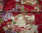 Beautiful Metalic Bird and oriental fans  print with Red back ground Hanemai by Demetria Hayward RJR 1/2 or 1  yard cotton quilt fabric
