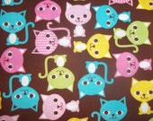 Urban Zoologie  Screen Print colorful kitty cats on brown By Ann Kelle For Robert Kaufman Fabrics 1 yards cotton quilt fabric