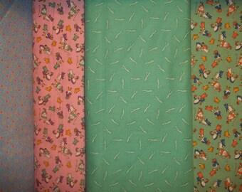 4 fat 1/4s Darlene Zimmerman for Robert Kaufman The Three Little Bears collection 1930s flour sack towel fabric 1 yard total