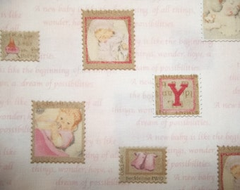 beautiful Baby print by RJR Vintage Looking Babies on stamps 1 yard in  licensed print OOP cotton quilt fabric