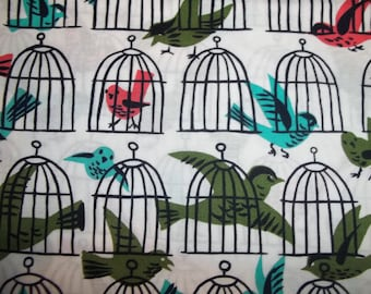 OOP Retro colors Cage Free birds with bird cages A Tammis Keefe Tribute From Michael Miller Fabrics 1 yard Licensed Print