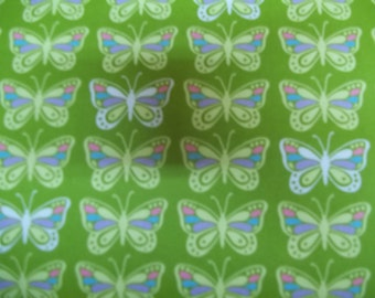 Colorful Butterflies on green by Ann kelle Flannel for Robert Kaufman Fabrics 1 yard licensed print