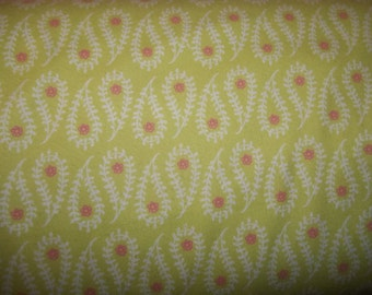 Paisley with small pink flower on light green Flannel for Robert Kaufman Fabrics 1 yard licensed print