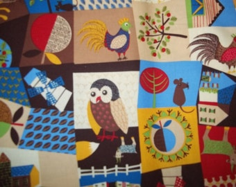 Patchwork Village By Timeless Treasures Fabrics 1 yard print chickens, owls, fox, rooster, barn, trees, and much more