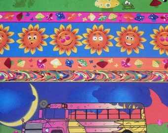 Trippen Stripe by Avlyn Bright colors with V.W. bus sun sky and flowers great retro hippy print 1 yard licensed print