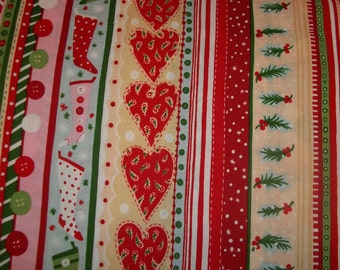Sew Christmas Stripe 2009 collection OOP The Alexander Henry Fabric 1 yard of cotton quilt fabric buttons, stockings, hearts, and mistletoe