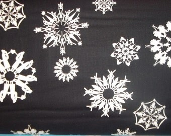 Friendly snow flakes on black 2011 collection OOP The Alexander Henry Fabric 1 yard of cotton quilt fabric