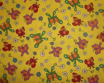 New The Berenstain Bears By Moda bright colorful Butterflies on yellow to go with your favorite Bear prints 1 yard cotton quilt fabric