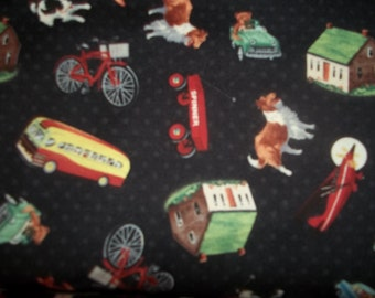 Beautiful Pleasantdale By Whisler Studios for Windham Fabric Retro toys, planes, Bicycles, dog, VW Bus and more 1 yard cotton quilt fabric