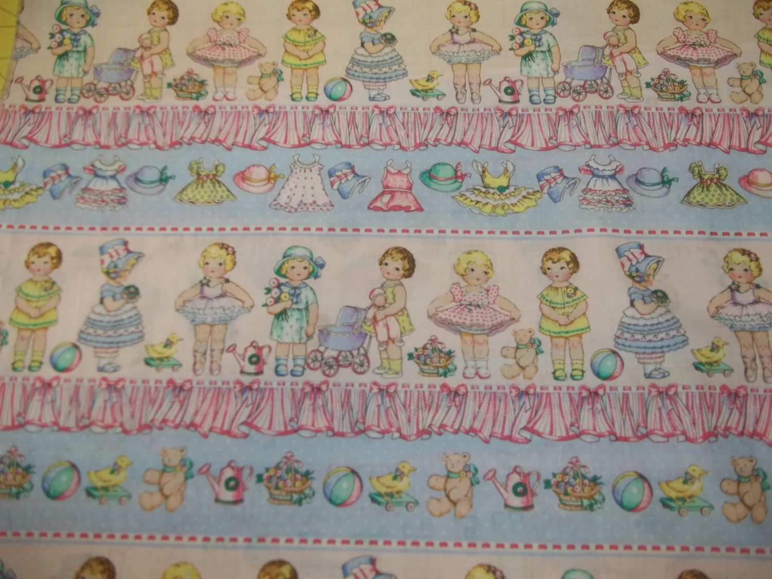 Baby paper doll fabric retro looking from fabric traditions for Retro baby fabric