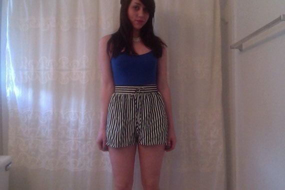 High Waist Shorts Navy and White Striped