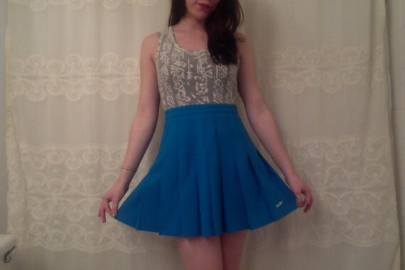 royal blue pleated tennis skirt by modifyvintage on etsy