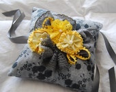 Grey and Yellow Ringbearer Pillow