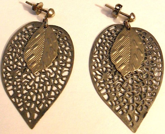 Antiqued Silver Double Leaf Earrings