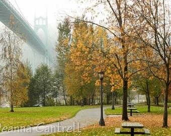 St. Johns Bridge Photograph, 8x10 Foggy Bridge, Cathedral Park in fall,  Portland, Oregon