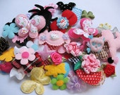 120pcs Mix Satin Organza Ribbon Flower Bow Appliques Trims