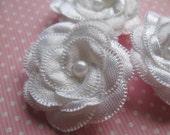 "20 Satin 1.5"" Ribbon Flower Pearl Appliques-white"