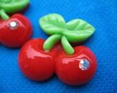 20 Cherry Resin Flatback Button w/Rhinestone-Red