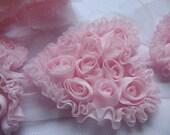 """5pcs Shabby Chiffon Rose 3.5"""" Heart-Light Pink CH003"""