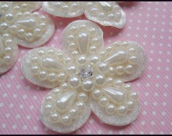 """10 Velvet Flower Pearl 2"""" Applique/Rhinestone -lvory"""