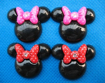 20 Resin Disney Mouse w/ Dots Bow Flatback-Black