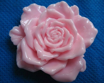 "5 Large 2"" Rose Flower Resin Flatback Button/bow-Pink"