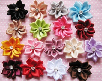40pcs satin ribbon flowers/Rhinestone-Mix R004-1