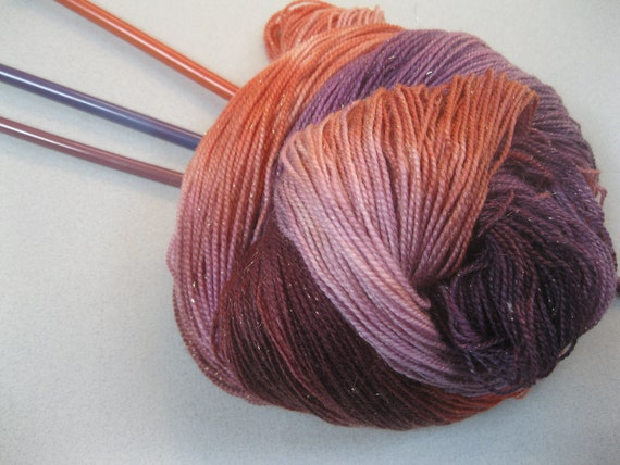 Hand dyed  gold sparkle fingering/4ply sock knitting yarn, 'Victoria plum'