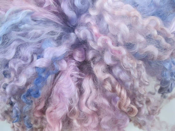 Hand dyed Teeswater curly wool locks for spinning ,Custom Blythe doll hair -'Hyacinth Bouquet'