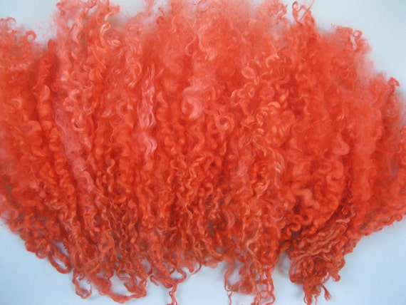 Hand dyed Teeswater curly wool locks for spinning ,Custom Blythe doll hair -'Fields of poppies'