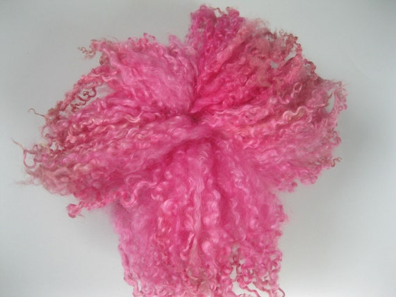Hand dyed Rare Breed Wensleydale curly locks-Blythe doll hair, spinning and felt making-'Magenta'
