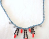 Neon orange navette handpainted vintage rhinestone necklace & earrings