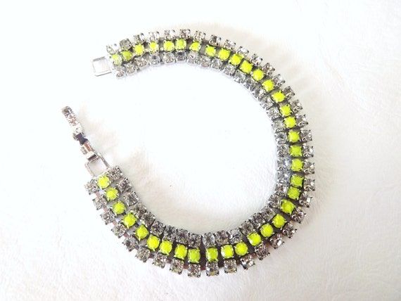 Handpainted neon yellow vintage rhinestone bracelet
