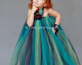 The Stevie-Lynn...Peacock Princess Halter Flower Girl Tutu Dress