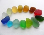 Fourteen frosted sea beach glass pieces - Gorgeous rainbow tinies