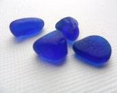 4 cute little cobalt blue beach glass tinies - English sea glass