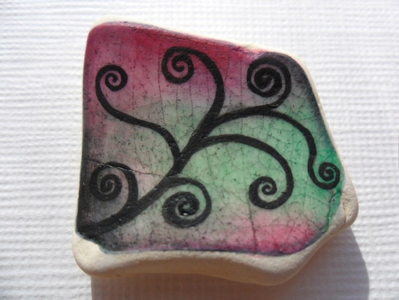 Miniature art on English sea pottery - Abstract chunky swirl on pink & green - hand painted