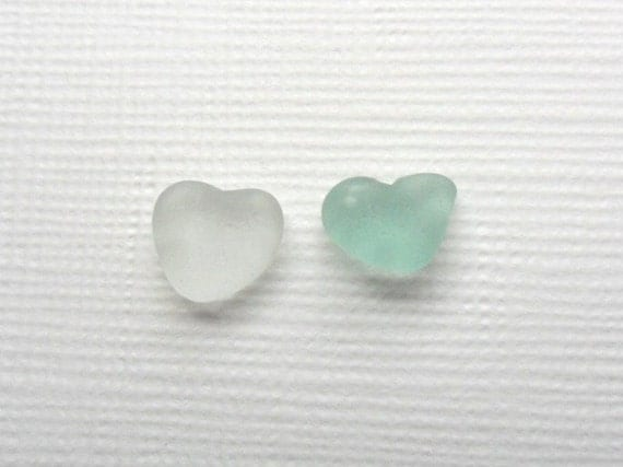 Pretty pair of heart shaped frosted sea glass pieces - White and seafoam