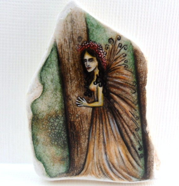 Fairy in the forest  - Miniature painting on North sea beach pottery - original acrylic art