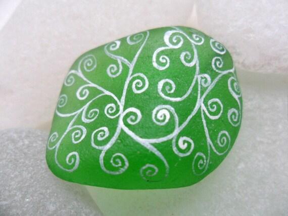 White swirls on emerald green sea glass - Miniature art - hand painted