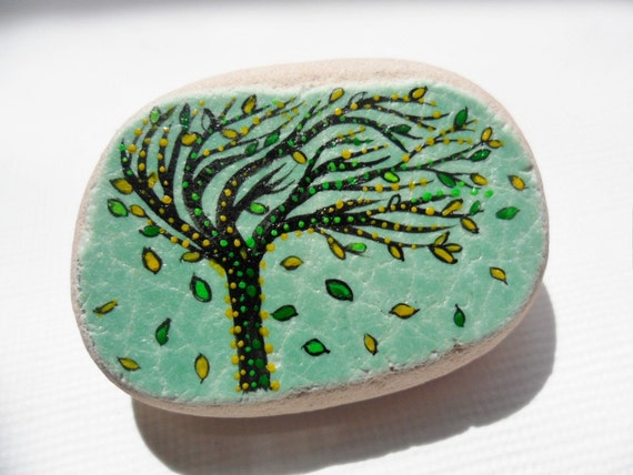 Windblown tree art brooch - hand painted Italian sea pottery - secure clasp