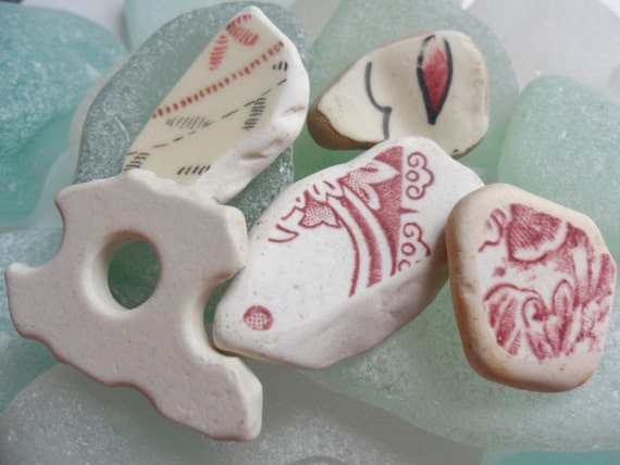 5 pretty beach pottery finds - red and white - found washed up on the Isle of Bute in Scotland