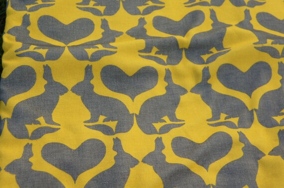 Cool Baby Blanket: Bunnies and Hearts in Mustard & Grey Organic Cotton and Fleece .