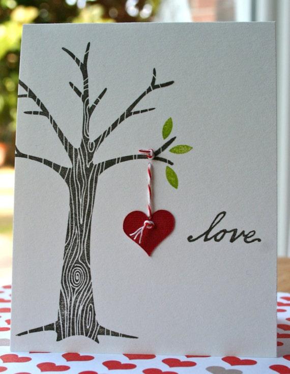 Wedding Tree - Love hand stamped card