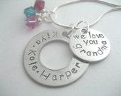 We love you grandma custom handstamped stainless steel necklace